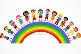 Preview depositphotos 6095241 stock illustration rainbow with kids colorful vector